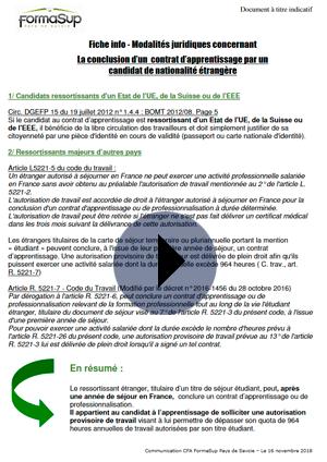Fiche info - Modalités juridiques concernant La conclusion d'un contrat d'apprentissage par un candidat de nationalité étrangère
